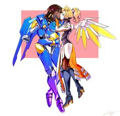 Gency is my Fav. But this ship is cute. Overwatch Pharah, Overwatch Video Game, Overwatch Memes, Video Game Logic, Video Games, Minecraft Anime Girls, Mercy And Pharah, Gay Art, My Little Pony