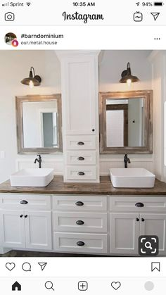 30 Awesome Master Bathroom Remodel Ideas On A Budget. 30 Awesome Master Bathroom Remodel Ideas On A Budget. Master bathroom offers an atmosphere of personal indulgence just like your bedroom. There might not be a better place for […] Bad Inspiration, Bathroom Inspiration, Bathroom Renos, Bathroom Renovations, Wood Counter Bathroom, White Bathroom Cabinets, White Cabinets, Kitchen Cabinets, Home Renovation
