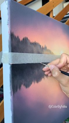 Acrylic Painting Tips, Canvas Painting Tutorials, Diy Canvas Art, Acrylic Canvas, Painting Lessons, Canvas Art Paintings, Paintings Of Landscapes, Canvas Painting Nature, Landscapes To Paint