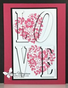 Eclipse Technique showcasing the Bloomin' Love stamp set and Large Letter Framelits from Stampin' Up. by Kathleen Wingerson www.kathleenstamps.com #kathleenstamps #valentinescard #stampinup #kathleenwingerson