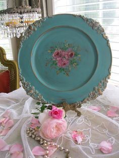 Turquoise Serving Tray  Tea Party  Hand Painted by myplace4tea, $38.00