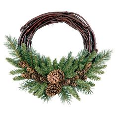 ON SALE NOW! simple elegance! / Deck your halls in seasonal cheer with this lovely grapevine wreath, showcasing classic pinecones nestled among lush evergreen branches.