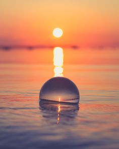 Quiet ocean waves surrounding the Lensball during sunset, incredible picture taken near Warsaw, Poland. Wide Angle Photography, Glass Photography, Reflection Photography, Underwater Photography, Creative Photography, Amazing Photography, Nature Photography, Landscape Pictures, Nature Pictures