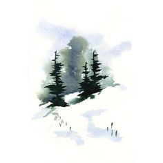 Snowy Hillside Watercolor Art Print by Frances Dierken ❤ liked on Polyvore featuring home, home decor, wall art, handmade home decor e watercolor wall art