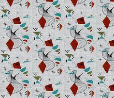 'Retro Swirl' fabric print