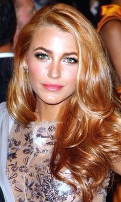 34 Ideas For Hair Copper Blonde Blake Lively Red Blonde Hair, Strawberry Blonde Hair, Copper Blonde, Copper Red, Copper Gold Hair Color, Golden Copper Hair, Blonde Makeup, Golden Blonde, Blonde Color