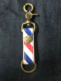 Your place to buy and sell all things handmade Leather Keychain, Brass Hardware, Barber Shop, Key Chain, Antique Brass, Personalized Items, Antiques, Metal, Color