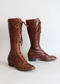 Vintage 1930s Tall Lace Up Boots
