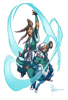 Master Katara and Avatar Korra giving an official waterbending demonstration.