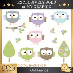 Owl Friends Clipart - adorable owls for crafts, card making, invitations and more.