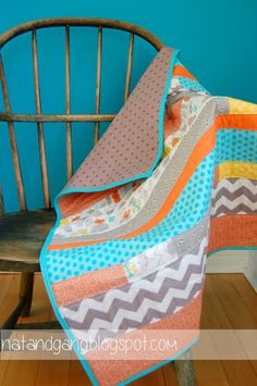 Baby boy quilt - love the chevron! In the baby's colors