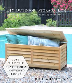 Build a DIY Outdoor Storage Box - Building Plans by Diy Outdoor Furniture, Outdoor Sofa, Diy Furniture, Outdoor Decor, Outdoor Seating, Outdoor Rooms, Furniture Plans, Bench With Storage, Diy Storage