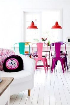 If I had all white walls, floor, and ceiling, my furniture would have to be colorful. This is so much fun