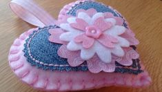 Misi is UK's popular marketplace for handmade and vintage gifts. Door Hanging Decorations, Felt Decorations, Felt Flowers, Fabric Flowers, Sewing Crafts, Sewing Projects, Fabric Hearts, Denim Crafts, Heart Crafts