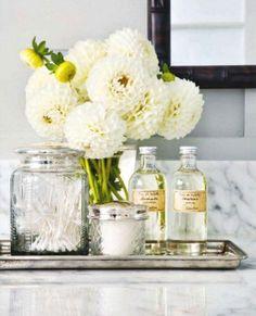 bathroom decorations, white flowers, bath decor, silver trays, bathrooms decor, bathroom designs, fresh flowers, vanity decor, guest bathrooms
