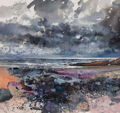 Kurt Jackson: Limpets and mussels at my feet. Flowing tide. October 2012 Campden Gallery, fine art, Chipping Campden, camden gallery, contem...