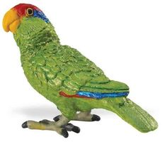 """Safari: Green Parrot by Safari Toys. $5.35. Each replica comes with 5-language educational hangtag.. All Safari Ltd. products are hand-painted, phthalate-free and thoroughly safety tested to safe guard your childs health.. 2.25"""" L x 1.75"""" H (5.5 x 4.5 cm). Age 3+. This Green Parrot measures 2.25 L x 1.75 H (5.7 x 4.4 cm).. Green-cheeked parrots are noisy, sociable birds that live in tropical forests. Their strong feet enable them to grasp fruits and nuts, climb and hang from br..."""