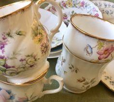 Lot of 12 MISMATCHED Vintage Floral English TeaCups & Saucers; Bone China  | eBay