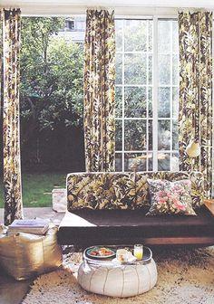 loving the drapes + cushions - the perfect balance