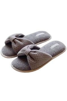 Stylish Bow Decoration Simple Color Indoors Anti-Slip Slippers