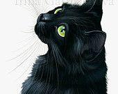 Items similar to Black Cat Print Emerals Eyes by Irina Garmashova on Etsy