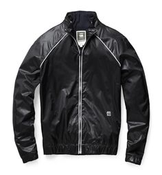Lightweight bomber with an integrated collar and raglan sleeves. Contrast piping accents the front. Hem and cuffs are elasticated for a slim fit. www.g-star.com