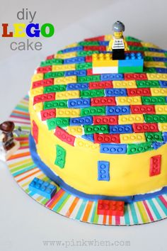 DIY Lego Cake via PinkWhen.com Baked Goat Cheese, Lego Birthday, Birthday Cakes, Birthday Ideas, Birthday Parties, Lego Cake, Minecraft Cake, Peanut Butter Cookies, Creative Cakes