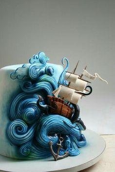 Antique Ship Scene Cake