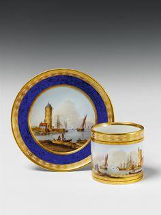 Königliche Porzellanmanufaktur Berlin, Ca. 1810.A Berlin KPM porcelain cup with a river landscape., Auction 1047 The Berlin Sale, Lot 144