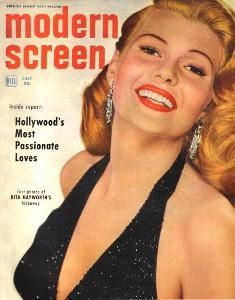 Rita Hayworth on the cover of Modern Screen magazine, July 1952, USA.