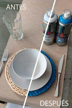 Una de las cosas que más nos gustan es poder cambiar el color de las cosas que tenemos más cerca, esas que tenemos dentro de casa. Con Pintyplus EVOLUTION Water-Based es posible! Sin olores molestos, duradero, y en este caso con toda la flexibilidad que tienen los salvamanteles de casa. Hemos optado por el color azul que da alegría a la mesa. Para unos resultados óptimos hemos imprimado-pintado-barnizado. Color Azul, Diy, Flexibility, Dishes, Blue Nails, Colors, Hipster Stuff, Bricolage, Do It Yourself