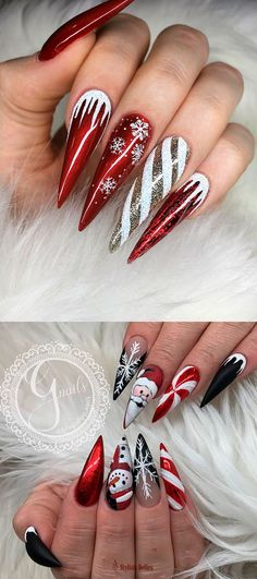 The Cutest and Festive Christmas Nail Designs for Celebration Here are the best Christmas acrylic nails designs, cute Christmas nails and red Christmas nails 2018 that We've Cherry Picked, to act as an inspiration for you! Chistmas Nails, Cute Christmas Nails, Christmas Nail Art Designs, Xmas Nails, Holiday Nails, Red Nails, Glitter Nails, Christmas Glitter, Red Stiletto Nails