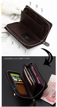 Hot sale Business casual wallet male long design zipper wallet cowhide clutch male day clutch