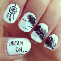 """Super cute, but personally I would just stick with the dream catcher, I love it! I would maybe go with the feather too but def. would not get """"dream on..."""" written on one of the nails, even though the font is super cute :P"""