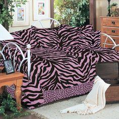 I Love Camo Bedding - Zebra Pink and Black 5pc Daybed Ensemble Set, $114.99 (http://www.ilovecamobedding.com/zebra-pink-and-black-5pc-daybed-ensemble-set/)