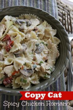 Spicy chicken Romano with bowtie pasta, mushrooms, artichoke hearts, sundried tomatoes and grated parmesan..