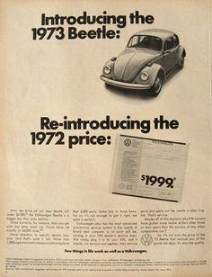 Volkswagen automobile - 1973 VW Volkswagen Beetle Ad ~ At The 1972 Price