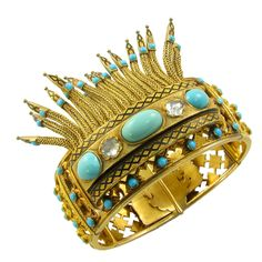 1stdibs - A Beautiful Antique Gold, Turquoise and Diamond Bangle Bracelet explore items from 1,700  global dealers at 1stdibs.com