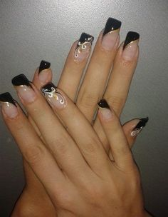 French Nails, French Manicure Acrylic Nails, French Manicure Designs, Nail Art Designs, Nails Design, Long Nail Art, Long Nails, Gel Nagel Design, Finger Nail Art