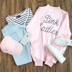 Pink love. #jacket #letterprint #chicstyle #womenoutfits #romwe