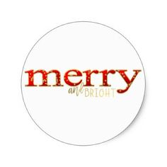 Merry & Bright Red Gold Holiday Christmas Favor Classic Round Sticker - craft supplies diy custom design supply special