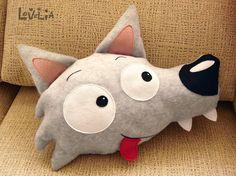 Wildo peluche loup coussin en peluche décorative par lovelia