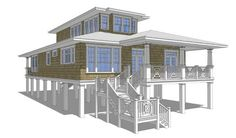 Designing Two Story House Plans On Pilings Exterior Pinterest