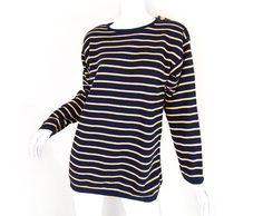 Vintage 80s 90s Oversized Navy Striped Sweater - Size Small -Metallic Gold Striped Long Navy Blue Button Shoulder Women Sweater Baggy Jumper