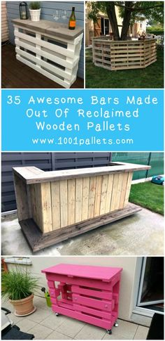 U-Shape bar made from mainly recycled cedar wood pallet. (source) Another Tiki bar, perfect for your backyard. This one is made from 3 discarded pallets for the base and a pergola top added (but not from pallets). Wooden Pallet Bar, Wooden Pallet Projects, Pallet Crafts, Diy Projects, Pallet Benches, Pallet Couch, Pallet Tables, Diy Pallet Bar, Outdoor Wooden Bar