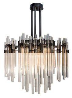 国外款式黑色烤漆铜色烤漆优质玻璃水晶棒个性米兰展帝美斯设计师喜欢的吊灯