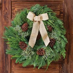 Nature's Grace Noble Fir Wreaths: These exquisite wreaths are done in a looser, more natural fashion than most, which gives a fresh, full appearance. Made of fresh-cut Pacific Northwest Noble Fir, Western Red Cedar, and Oregon blue-berried Juniper adorned with Ponderosa Pine Cones and a natural burlap bow, they're a gorgeous, fragrant accent they'll enjoy all season long!