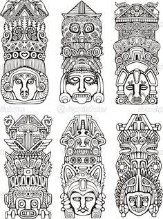 tótems aztecas - Ilustración de stock: 16294541