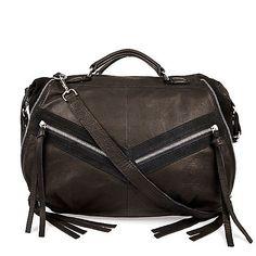River Island Black leather tassel bowler handbag