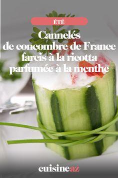 Les cannelés de concombre farcis à la ricotta parfumée à la menthe sont une bonne idée d'entrée pour l'été. #recette#cuisine#concombre#ricotta #entree  #ete Ricotta, Pickles, Cucumber, Zucchini, France, Vegetables, Food, Stuffed Cucumbers, Vegetable Tian